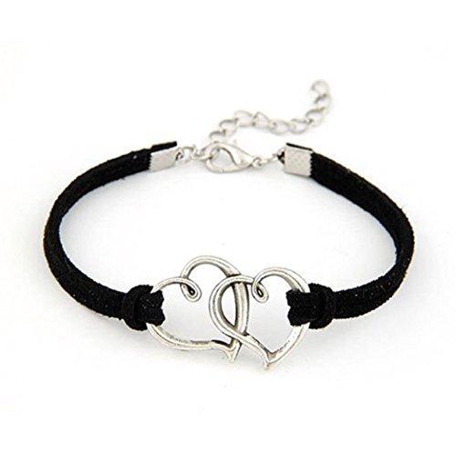 T.sewing 1pcs bracciale doppio cuore in metallo dolce nero