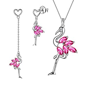 Aurora Tears 925 Sterling Silber Flamingo Halskette Ohrringe Juli Birthstone Red Ruby Jewelry Set Anhänger Ohrring Dating Geschenk für Frauen und Mädchen DS0044R
