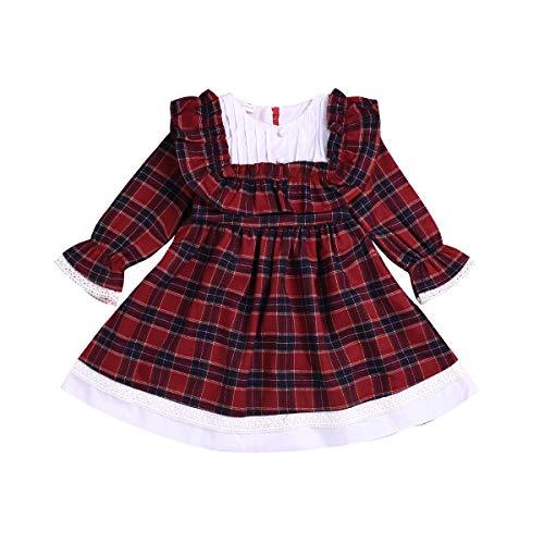 Fairy Baby Royal Stewart Tartan Kleid Mädchen schottisch Rot geprüft Party Kleid Retro Size 80(12-18 Monate) (Kariertes Muster)