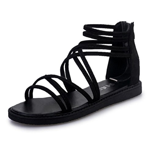 Sandalias de señora Zapatos planos de mujer Moda Verano Vendaje Bohemia Ocio Peep-Toe Zapatos al aire libre Clip Toe Sandalias casuales Zapatos de playa Sandalias romanas LMMVP (39(CN), Negro)