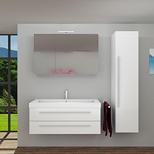 Badmöbel Set City 101 V4 Hochglanz Weiß, Badezimmermöbel, Waschtisch 120cm, Beleuchtung Spiegelschrank:ohne +0.-EUR