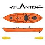 ATLANTIS Kayak - Canoa Wave Arancio 305 cm - 2 gavoni + seggiolino + pagaia + ruotino + Porta Canna da Pesca