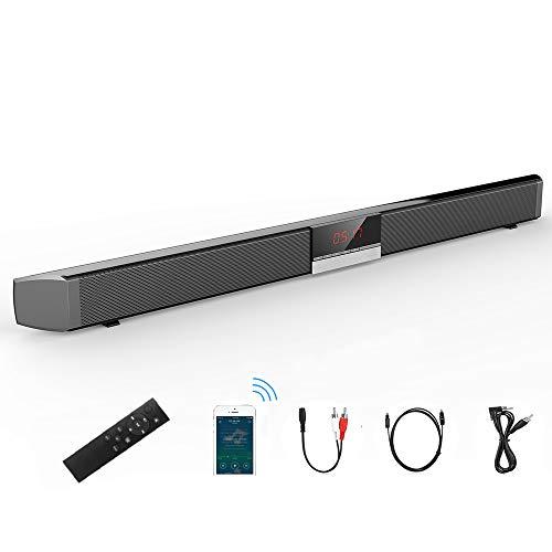 Barra de Sonido para Cine en casa (Bluetooth 4.0, 40 W, con 4 Altavoces, Sonido de Bajos estéreo, conectividad de Fibra de Vidrio, Mando a Distancia) Soporte de Pared Sistema Bass Réflex