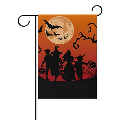 ASKYE Children Trick or Treating in Halloween Costume Double Sided Polyester Garden Flag, Winter Halloween Holiday Decorative Flag for Party Yard Home Decor(Size: 12.5inch W X 18 inch H)