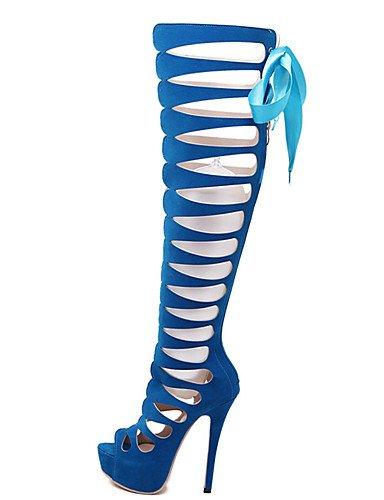 WSS 2016 Chaussures Femme-Décontracté-Noir / Bleu-Talon Aiguille-Talons-Chaussures à Talons-Laine synthétique black-us5 / eu35 / uk3 / cn34