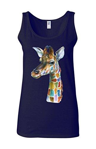 Giraffe Head Painting Colourful Novelty White Femme Women Tricot de Corps Tank Top Vest Bleu Foncé
