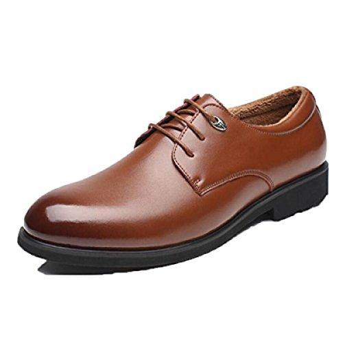 Cuir Hommes Printemps Automne Noir Brun Mode Confortable Bas Haut Business Formel Derby Oxford Mocassins En Dentelle Respirant Ronde Chaussures brown