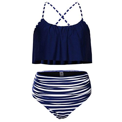 Desshok Donna Costumi da Bagno Due Pezzi Sveglie Ruffle Strap Push Up Bassiera Balza Bikini Blu