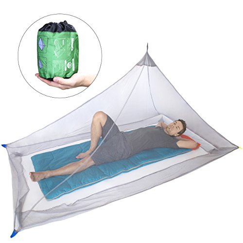 Dimples Excel Mosquito Net for Single Camping Bed - 250 per Square Inch, Compact and Lightweight...