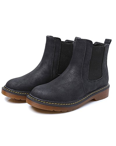 Minetom Donna Autunno Inverno Scarpe da Moda Stivaletti Scarponcini Chelsea  Low boots Stivali Cavaliere Nero ...