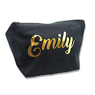 Personalised Make Up Accessory Bag Any Name Metallic Copper Print The Any Occasion, Christmas, Birthdays Weddings (Black Bag)