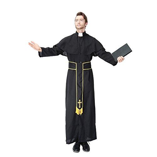 Priester / Pastor / Pfarrer Kostüm Robe, Schal und Gelber Gürtel Schwarz Herren (Roben Kostüm Priester)