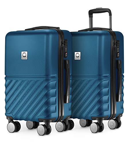 HAUPTSTADTKOFFER - Boxi - 2er Handgepäck Kofferset Bordgepäck Cabin Size Koffer 55cm, ABS-Hartschale TSA, 4 Spinner-Doppelrollen, Dunkelblau