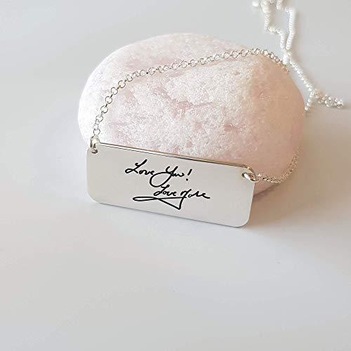 Personalisierte Signatur Horizontale Stabkette mit Ihrer aktuellen Handschrift, handgeschriebenem Schmuck, Sterlingsilber (Personalisierte Signatur-schmuck)