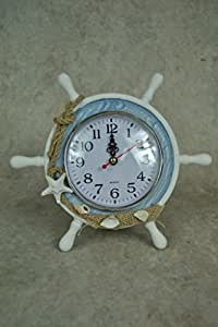 Nautial seaside Theme Freestanding Boat Wheel Clock by Four Seasons Liverpool