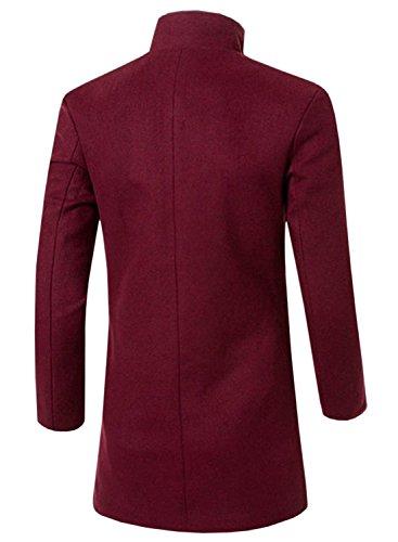 partiss Elegent pour homme Classic Fashion hiver Manteau épais Rouge - Rouge vin