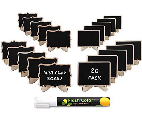 20 Stk. abwischbare Mini Tafel mit löschbar Kreidemarker - klein Holz Kreidetafel mit Ständer- als Tischkarten Platzkarte Namensschild Preisschilder für hochzeit, geburtstag usw. Verwenden