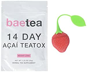 Baetea Acai Weight Loss Tea: Detox, Body Cleanse, Reduce Bloating, and Appetite Suppressant, 14 Day Acai Teatox, with Acai Berry, Goji Berry,Hibiscus