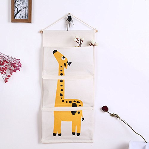 Hängnde Tasche Aufbewahrungstasche Schrank Organizer Wand Tür Organizer Hängeorganizer Utensilientasche für Kinderzimmer, Schlafzimmer, Gadget Make-up,Toys (Giraffe)