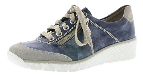Rieker 53721 Damen Schnürhalbschuhe, Halbschuhe, Schnürer blau kombi (quarz/jeans/steel / 41), EU 38