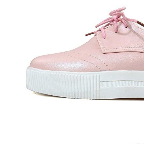 VogueZone009 Damen Schnüren Niedriger Absatz Pu Leder Rein Rund Zehe Pumps Schuhe Pink