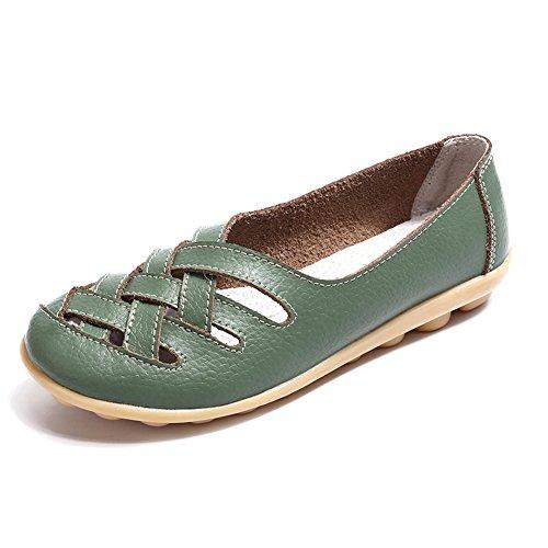 Mocassini donna in pelle loafers estivi casual flats scarpe moda comode leggero passeggio nero blu cachi 34-44 gr39