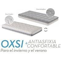 Ecus Kids Oxsi Colchón Cuna Oxígena HR con cremallera perimetral 120x60 + Protector 2 en 1 Hipoalergénico Orgánico de Regalo