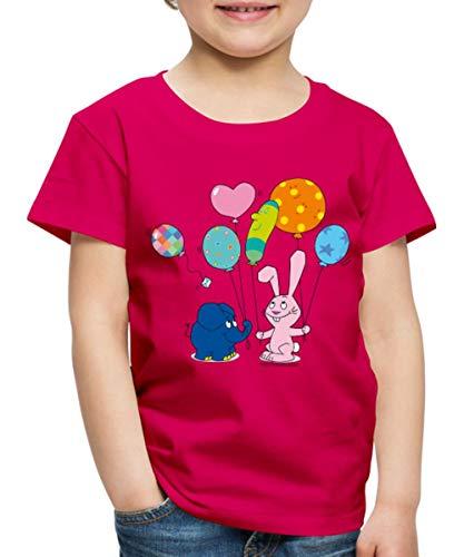 Spreadshirt Elefant und Hase - Luftballons Kinder Premium T-Shirt, 98/104 (2 Jahre), dunkles Pink
