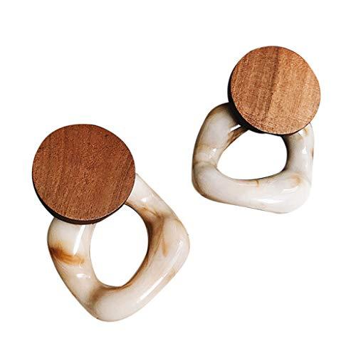 Neue Mode Harz große Ohrringe für Frauen, Holz Ohrringe Schmuck, für Party Strand Reisen Alltag, Geschenk für Sie und Ihre Freunde Familie (Mehrfarbig)