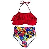 VBWER Damen Blumendruck Geteilter Badeanzug Push up Bikini Set Neckholder Bikini Oberteil Mit High Waist Bikini Set Sexy Halter Sport Zweiteiliger Badeanzug