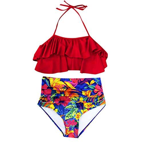 uck Geteilter Badeanzug Push up Bikini Set Neckholder Bikini Oberteil Mit High Waist Bikini Set Sexy Halter Sport Zweiteiliger Badeanzug ()