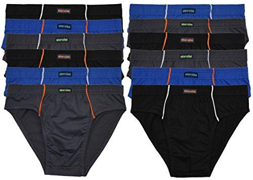 MioRalini 12 weiche 100% Baumwolle Herren Sport Slips in schönen Farbkombinationen und Muster ohne Eingriff 12er Sparpack