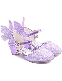 YOGLY Niñas Zapatos de Tacón Princesa Fiesta Sandalias para Niñas, Brillante Princesa Zapatillas de Baile