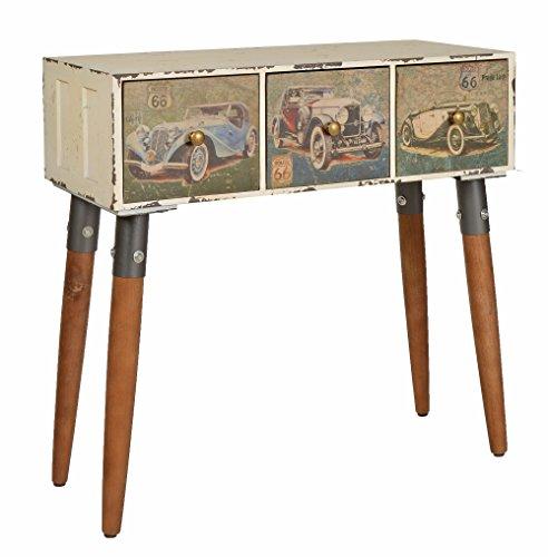 Ts-ideen tavolino mobiletto cassettiera stile industriale in bianco crema effetto metallo invecchiato