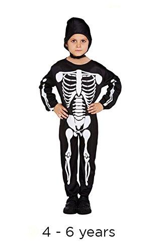 Costume da scheletro per bambini, 4-6 anni