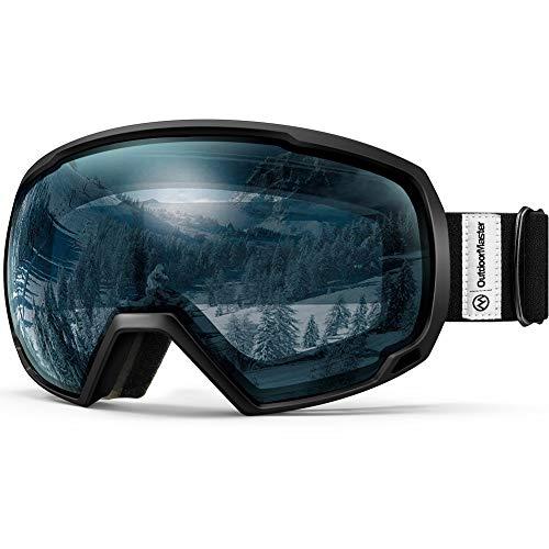 OutdoorMaster Premium Skibrille, Snowboardbrille Schneebrille OTG 100% UV-Schutz, helmkompatible Ski Goggles für Damen&Herren/Jungen&Mädchen(Schwarzer Rahmen + VLT 60% hellblaue Gläser)