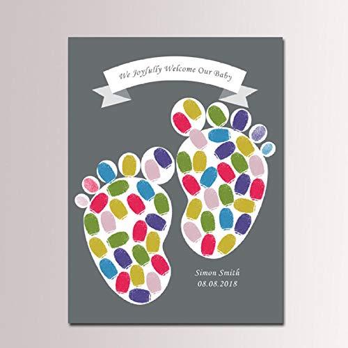 Yqgdss Baby Fuß Platte Fingerabdruck Zeichen In Malerei Taufe Party Taufe Baby Dusche Zeichen Malerei Zeichen Buch Dekoration Kinder Geschenk, 30X40 cm (In Buch Baby-dusche-zeichen)