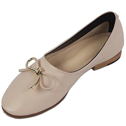 Hooh Femmes Ballerines En Cuir Véritable Bout Rond Classique Bowknot Casual Mocassins Chaussures Glissent Sur Rose