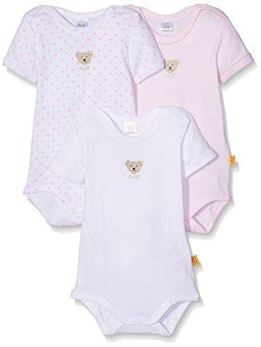 Steiff Baby-Mädchen Body Set 3tlg. Bodys 1/4 Arm, Rosa (Barely Pink 2560), 80 (Herstellergröße:80)