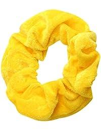 Busirde Niñas Multicolor elástico de Scrunchie Terciopelo Puro Color del Pelo elástico Lazo del Pelo Banda de Cuerda Hairband Mujeres Headware Amarillo Brillante 20