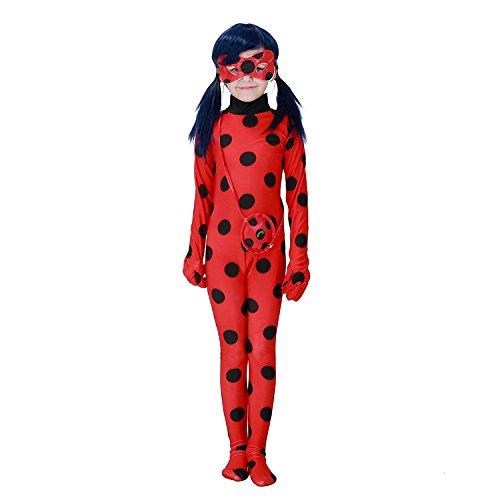 Halloween Cartoon Miraculous Ladybug Marienkäfer Hüfthalter mit Päckchen Party Cosplay Kostüm für Kinder