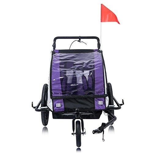 SAMAX Fahrradanhänger Jogger 2in1 360° drehbar Kinderanhänger Kinderfahrradanhänger Transportwagen vollgefederte Hinterachse für 2 Kinder in Lila – Black Frame - 5