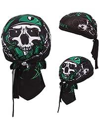 Queenland - Gorro para el casco de refrescante con calavera, de secado rápido, ajustable