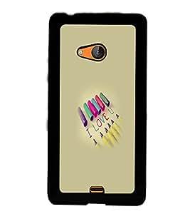Fuson Premium Colorful Love Metal Printed with Hard Plastic Back Case Cover for Microsoft Lumia 540