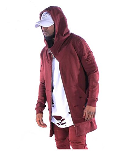 Project X Paris Herren Long Longsleeve Zip Hoody Kapuzenpullover mit Riss Black