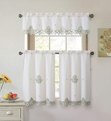 3Stück Deckchen bestickt Küche Fenster Vorhang Set: 1Querbehang und 2Stufen Traditionell 1 Valance Size: 58