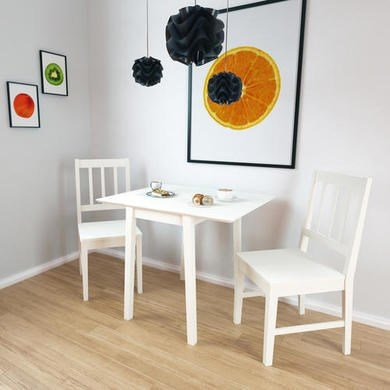New Haven Drop Leaf Dining Table in Stone White - inexpensive UK light shop.