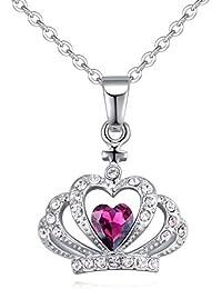 39ee50a88c1e QINJLI Las Mujeres Crystal Necklace aleación Colgante Perforado Ornamento  de la Corona de Reina de Diamantes