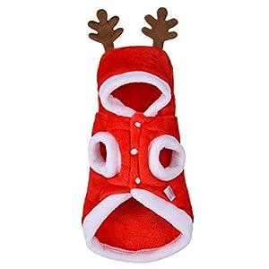 Tonsee Winter Herbst Hundebekleidung Weihnachten Hunde Super weich Fleece Kostüm Kleidung Hunde Pullover Mit Kapuze in Deer (S, Rot)