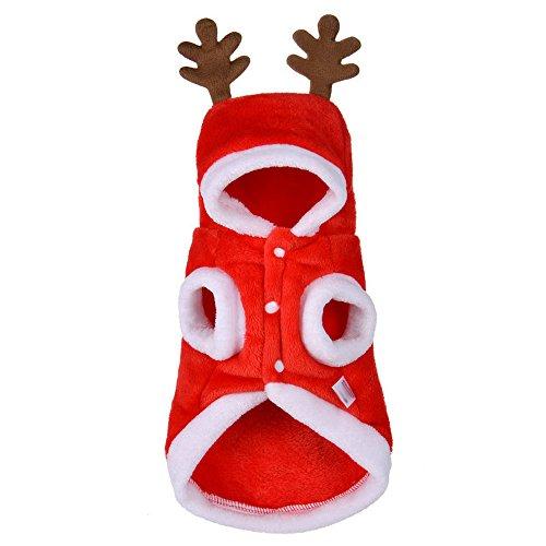 Hundebekleidung Weihnachten Hunde Super weich Fleece Kostüm Kleidung Hunde Pullover Mit Kapuze in Deer (S, Rot) (Großer Hund Weihnachten Kostüme)
